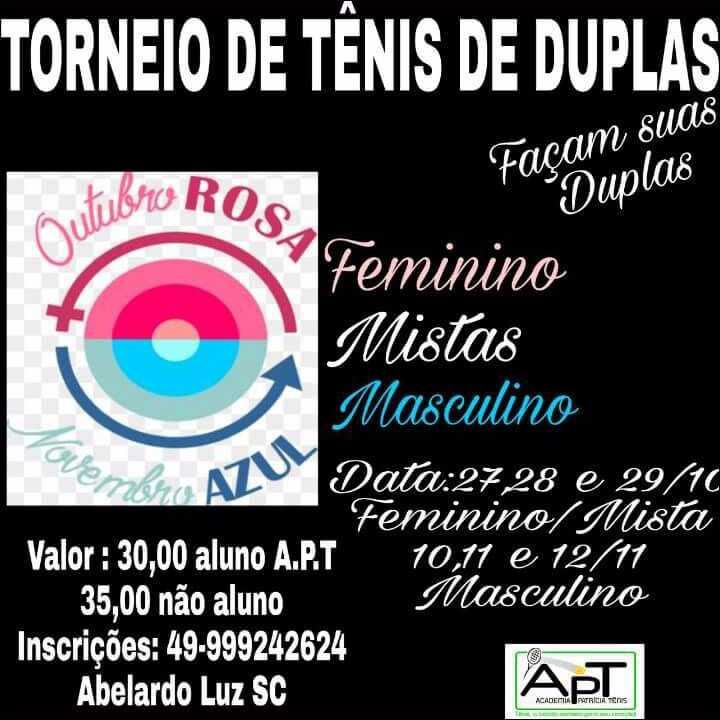TORNEIO DE TÊNIS DE DUPLAS OUTUBRO ROSA / NOVEMBRO AZUL