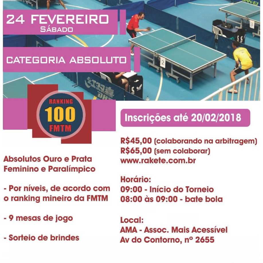 9° DECATHLON BH OPEN DE TÊNIS DE MESA - FMTM 100