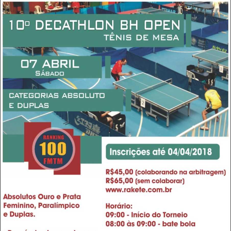 10º DECATHLON BH OPEN DE TÊNIS DE MESA - FMTM 100