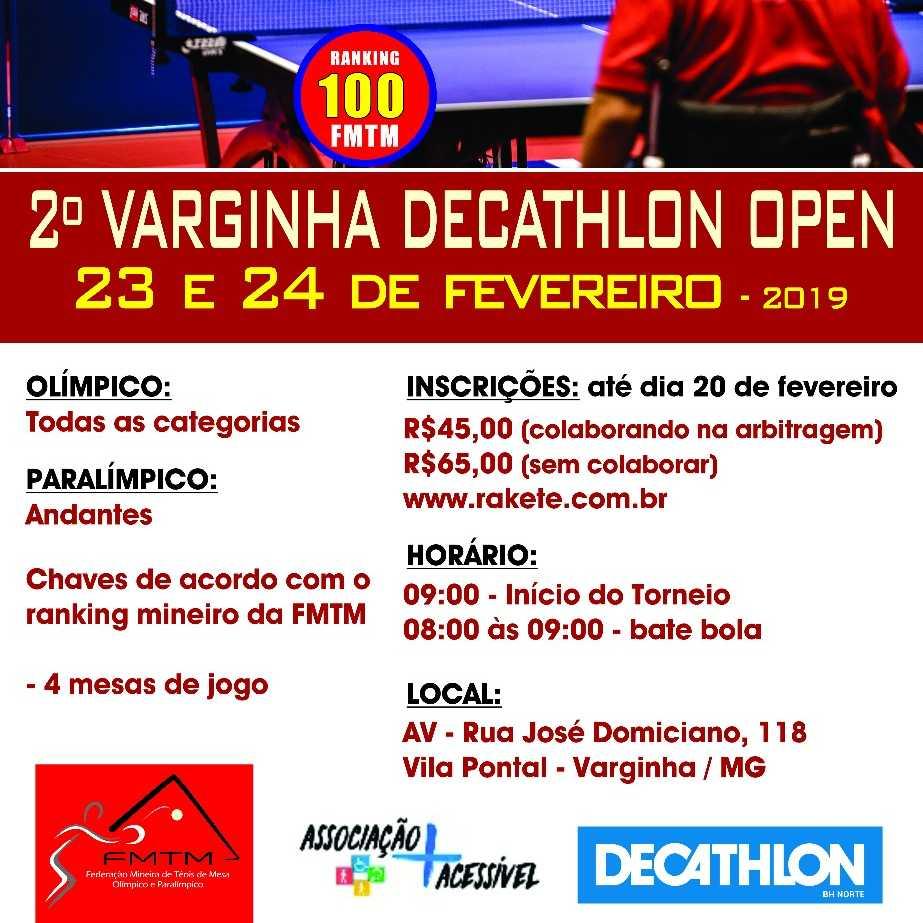 2°Varginha Decathlon Open De Tênis de Mesa