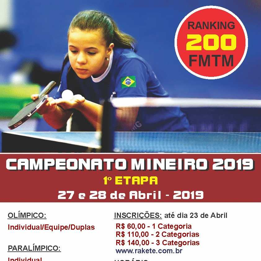 Campeonato Mineiro 2019 - 1° Etapa - Individual/ Duplas/ Equipes